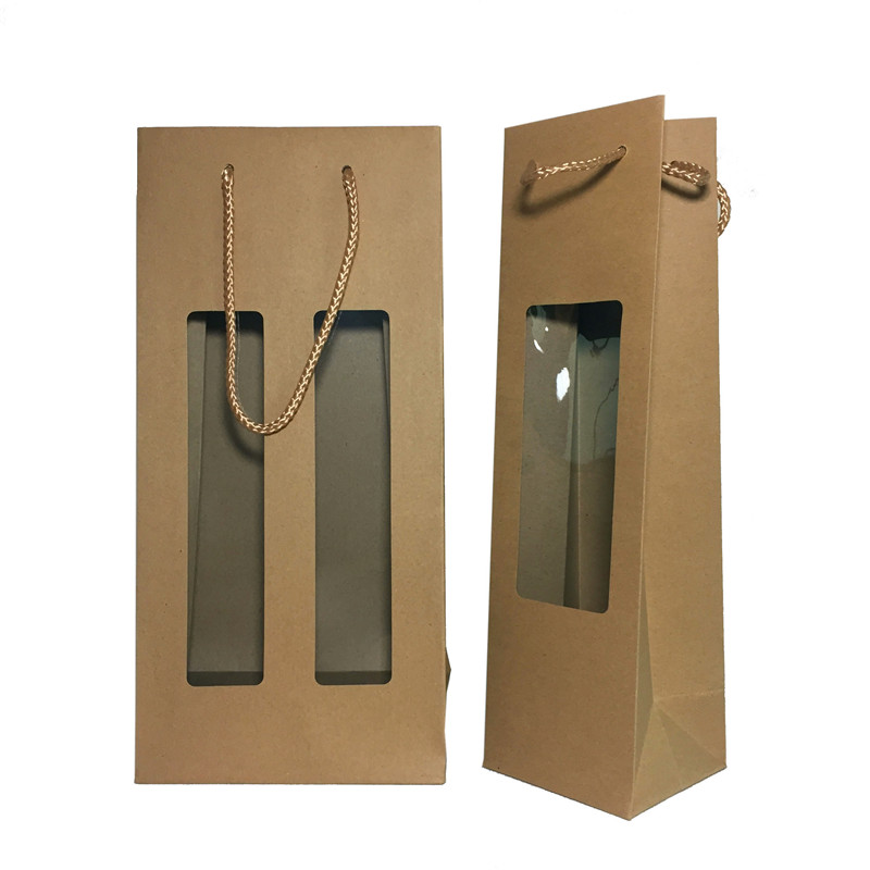 2 bottle paper wine bags with handle