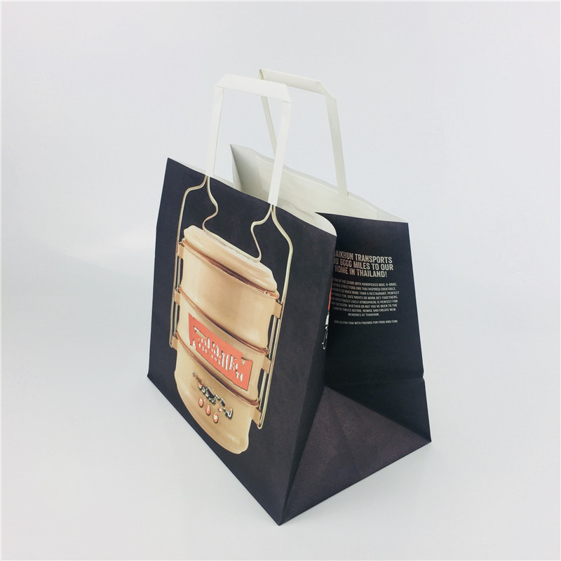 Printed white paper take out bags