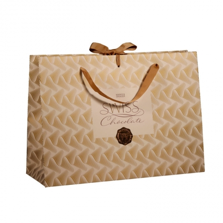 Paper bag with ribbon handle and bowknot