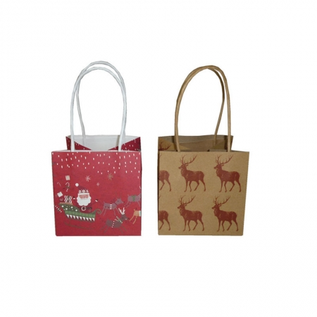 Christmas kraft gift bags with twisted handle