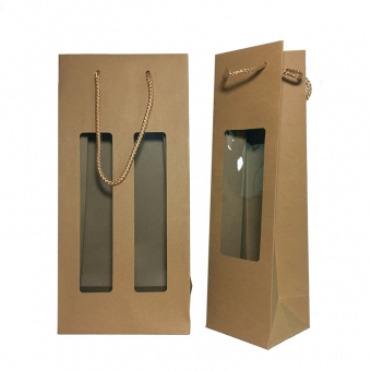 brown kraft paper wine bags with window