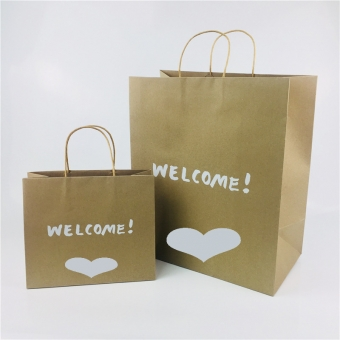 Kraft paper bags with twisted handle