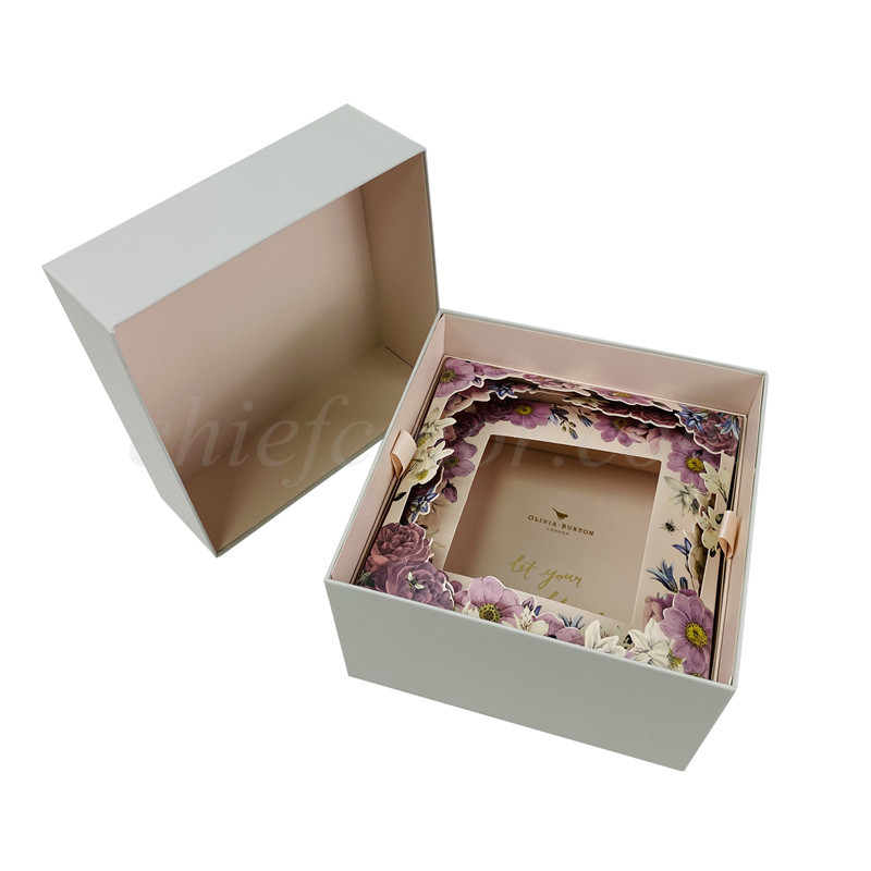 Full Telescoping Square Gift Box with Die Cut Paper Insert