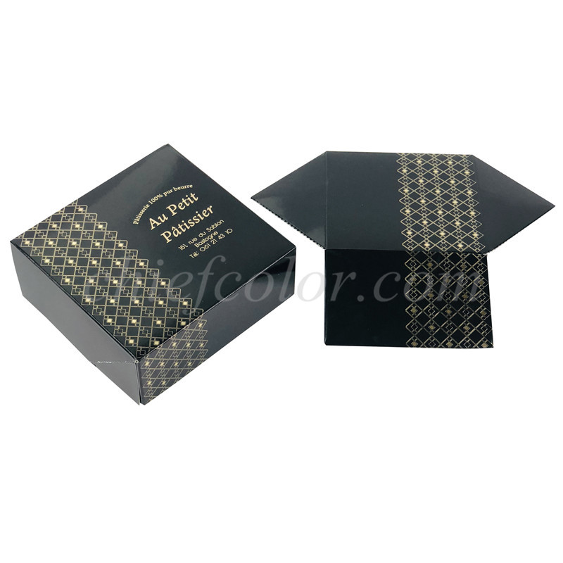 Custom Printed Black Pastry Box Gold Hotfoil Print Bakery packaging