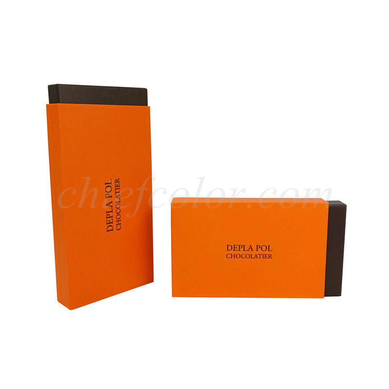 Custom Orange Slide Open Chocolate Gift Box with Border