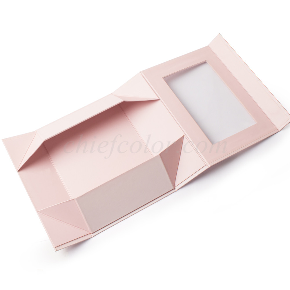Luxury Pink Foldable Rigid Box With PET Window
