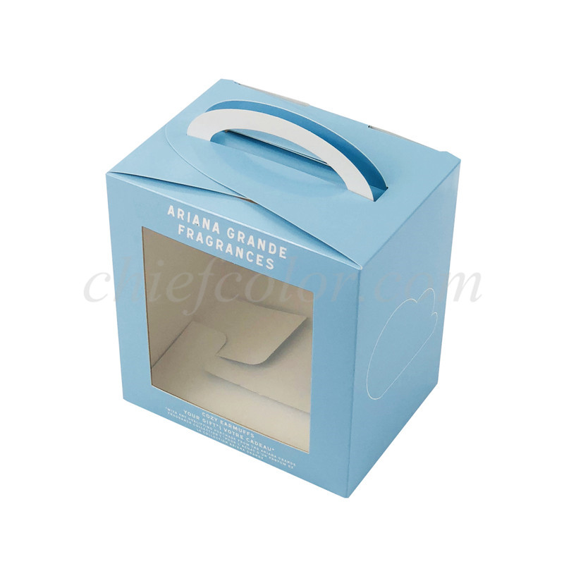 Light Blue Snap Bottom Box For Earmuff Packaging