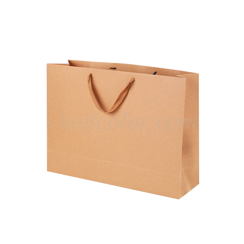 Luxury Natural Kraft Shopping Bag With Ribbon Handle