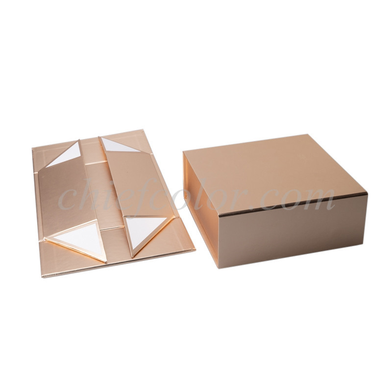 Collapsible Gift Boxes Wholesale Gold Metallic Foldable Gift Box Magnetic Closure with Handle