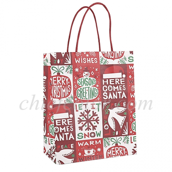 Christmas Kraft Paper Bag With Twisted Handle