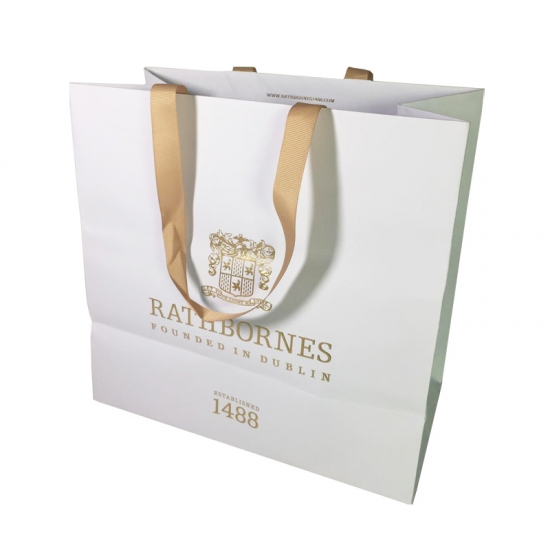 Beige Ribbon Handle Bags With Gold Foil Branding