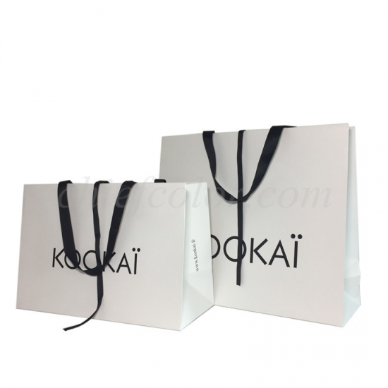Retail Shopping Bag With Ribbon Handle