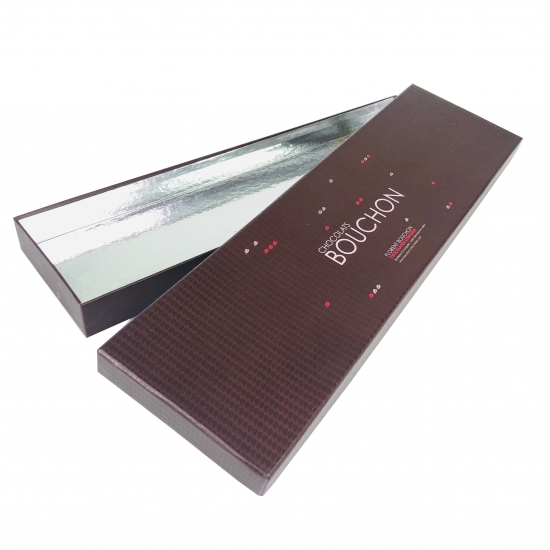 Brown Rigid Chocolate Box With Shiny Silver PET