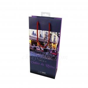 Laminated Wine Paper Bags With Rope Handles