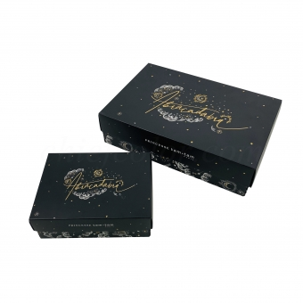 Luxury Retail Black Folding Lid And Base Apparel Packaging Box