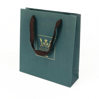 Green Fancy Paper Bag With Hot Foil Logo