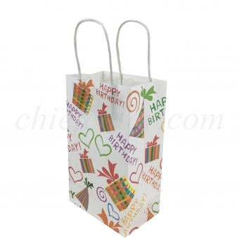 Birthday White Kraft Paper Gift Bag