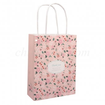 Printed White Kraft Paper Shopping Bag