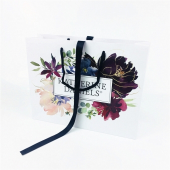 Bespoke Custom Printed Handmade Matt Laminated Ribbon Handle Paper Carrier Bags