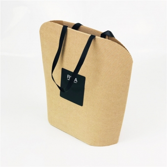 Corrugated Paper Bags With Ribbon Handles