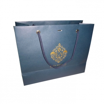 Blue Paper Gift Bag With Hot Foil Print