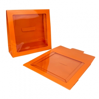 Orange Paper Bag With Clear PET Window