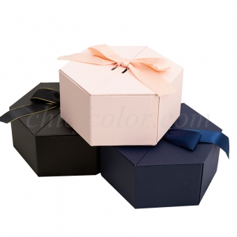 Hexagon Rigid Box With Ribbon Closure