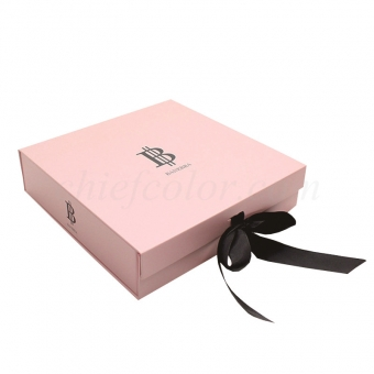 Foldable Pink Apparel Packaging Box With Black Ribbon